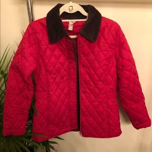 Jackets & Blazers - Red Barbour Style Quilted Lighyweight Coat